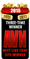 2015 AVN Best Live Chat Website award winner - 3rd time in five years